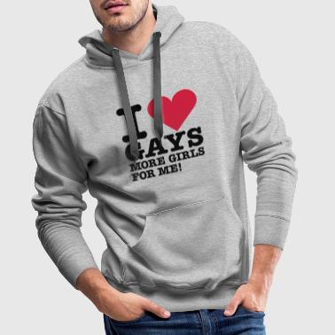 i love gays - more girls for me - Sweat-shirt à capuche Premium pour hommes