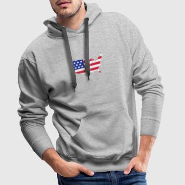 Stars and Stripes of USA, United States of America  - Sweat-shirt à capuche Premium pour hommes