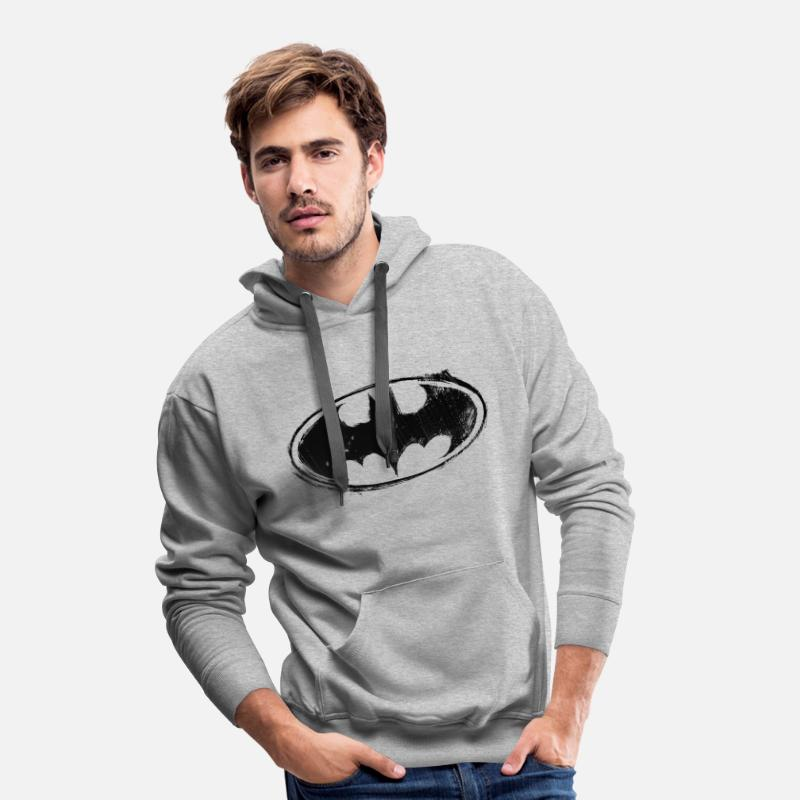 Batman Sweat-shirts - Batman Logo black retro - Sweat à capuche premium  Homme gris 60422fd3a325