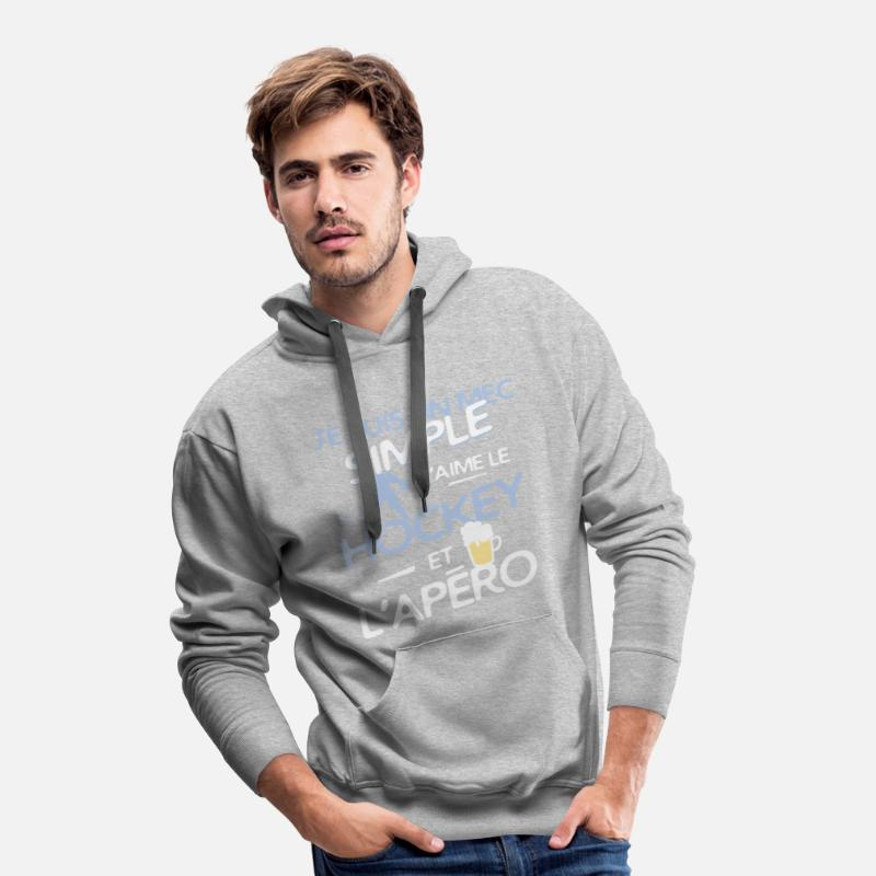 Humour Sweat-shirts - Hockey sur glace - un mec simple - Sweat à capuche premium Homme gris chiné