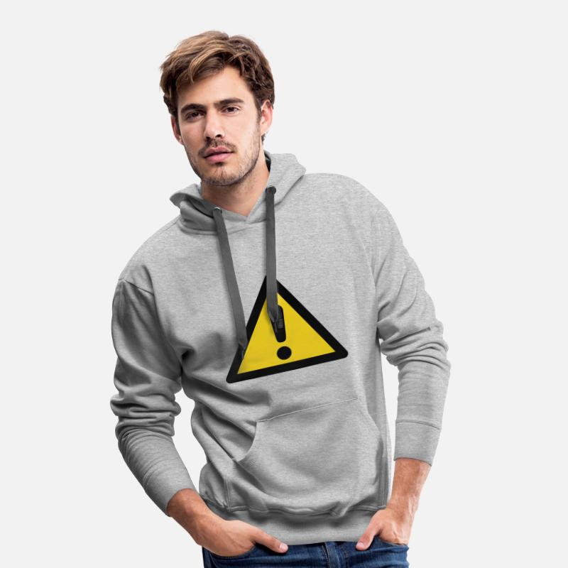 Chemistry Hoodies & Sweatshirts - Hazard Symbol - General Danger (2-color) - Men's Premium Hoodie heather grey