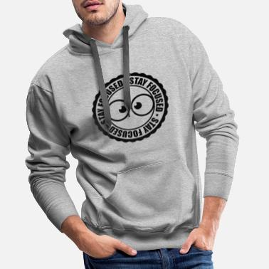 Stamp S round circle stamp comic cartoon eyes focused s - Men's Premium Hoodie