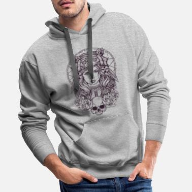 Native American Native American Girl with Wolf Headdress - Men's Premium Hoodie