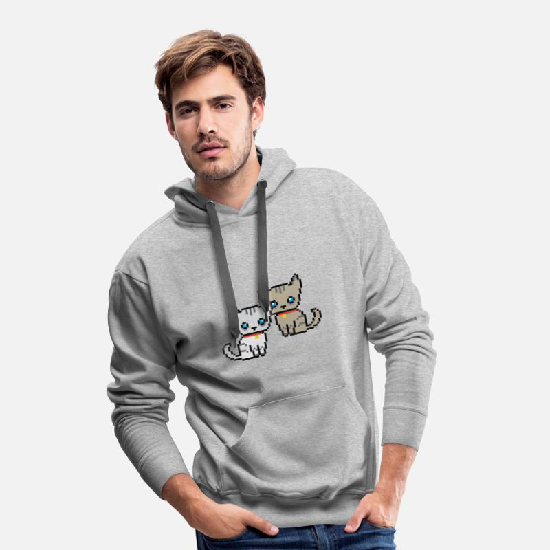 Animal Sweat-shirts - deux chats pixel - Sweat à capuche premium Homme gris chiné