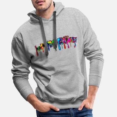 Splatter Color, rainbow, graffiti, splash, paint, comic - Men's Premium Hoodie