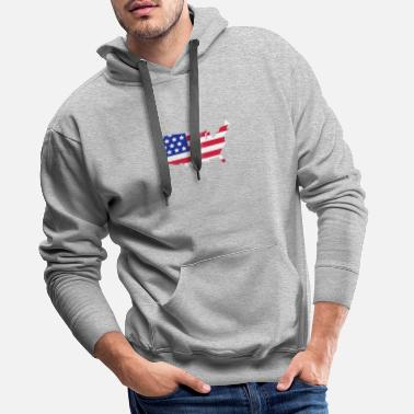 Stars and Stripes of USA, United States of America  - Premium hettegenser for menn