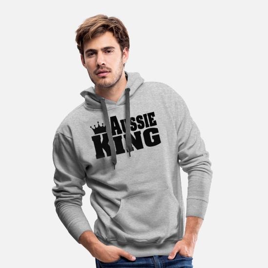 Australian Shepherd Hoodies & Sweatshirts - AUSSIE KING Australian Shepherd - Men's Premium Hoodie heather grey