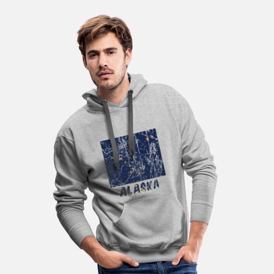 Gift Idea Hoodies & Sweatshirts - Alaska federal state flag USA vintage effect - Men's Premium Hoodie heather grey
