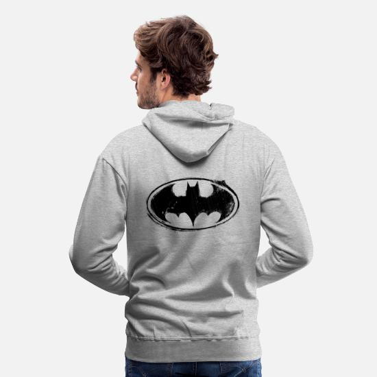 Geek Sweat-shirts - Batman Logo black retro - Sweat à capuche premium Homme gris chiné