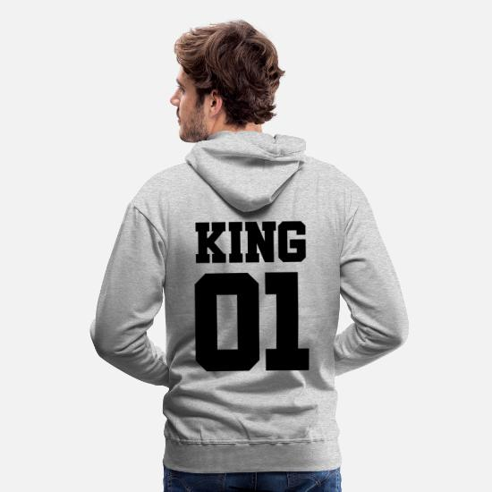 King Queen Pullover & Hoodies - KING 01-King and Queen (schwarz) - Männer Premium Hoodie Grau meliert