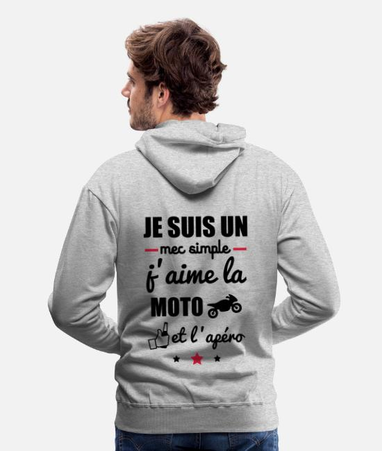 Motard Humour Sweat-shirts - mec simple moto apéro,t-shirt motard,alcool - Sweat à capuche premium Homme gris chiné
