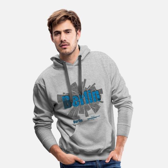 Capital Hoodies & Sweatshirts - Berlin Map - Men's Premium Hoodie heather grey