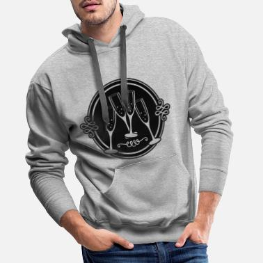 Champagne Glass champagne glass clinking logo - Men's Premium Hoodie
