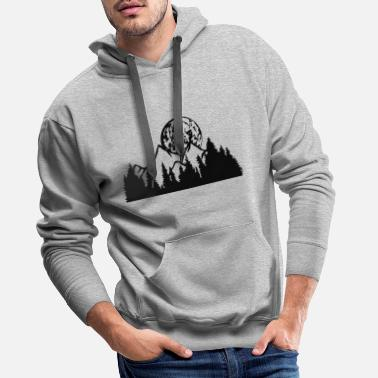 Hill full moon night moon mountains hills forest mountainous exp - Men's Premium Hoodie