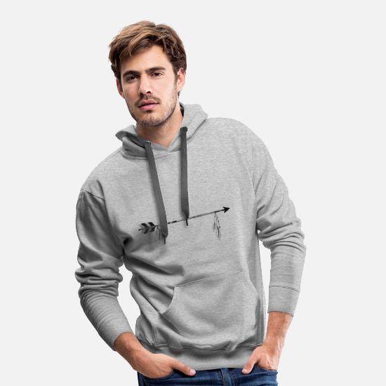 Feather Hoodies & Sweatshirts - arrow with feathers - Men's Premium Hoodie heather grey