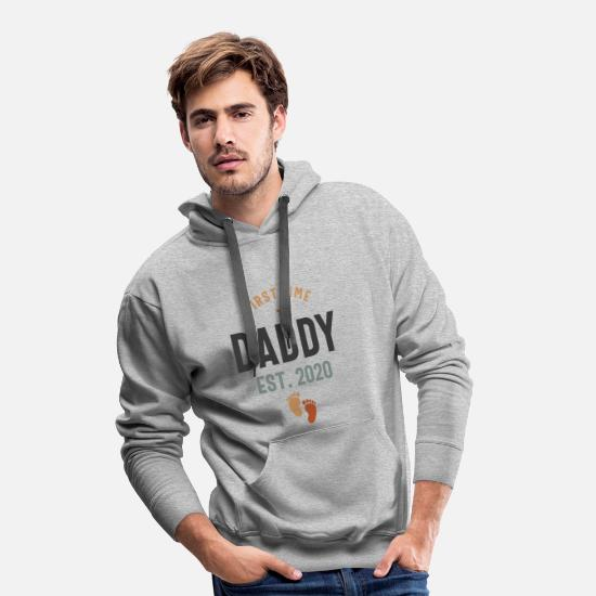 Father's Day Hoodies & Sweatshirts - First Time Daddy Est 2020 Father's Day - Men's Premium Hoodie heather grey