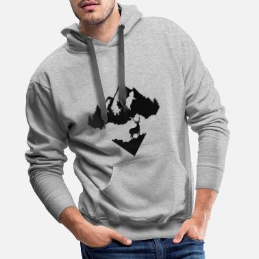 Survival Deer, Forrest and Mountains - Men's Premium Hoodie