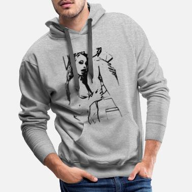 Erotic Sexy girl in erotic position - Men's Premium Hoodie