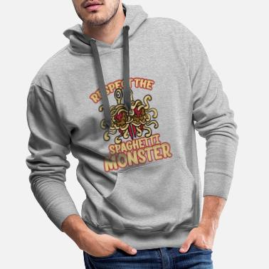 Spaghetti Respect The Spaghetti Monster Funny God Unbeliever - Mannen premium hoodie