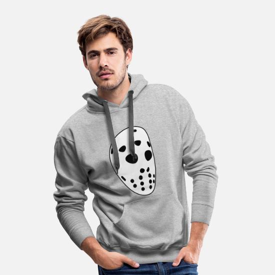 Hockey Hoodies & Sweatshirts - Retro hockey mask - Men's Premium Hoodie heather grey