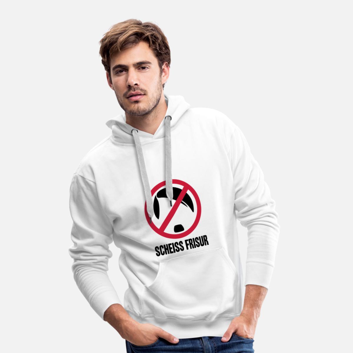 Scheiss Frisur Sweat Shirt A Capuche Premium Pour Hommes Blanc