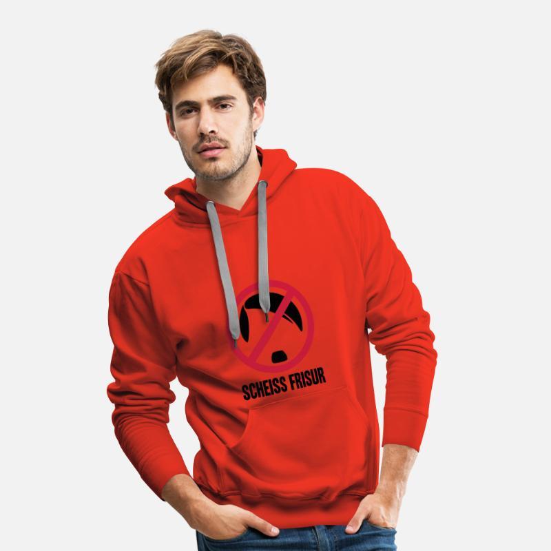 Scheiss Frisur Sweat Shirt A Capuche Premium Pour Hommes Rouge