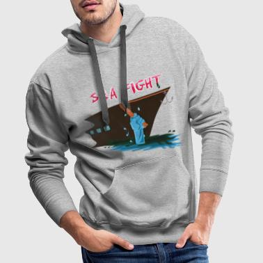 Battle on the sea The sea fights against ship - Men's Premium Hoodie