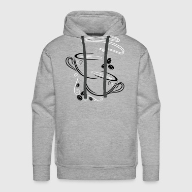 Coffee Cups with coffee beans - Men's Premium Hoodie