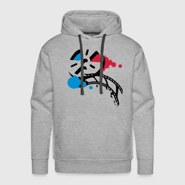 An old film reel with a film as a graffiti - Men's Premium Hoodie