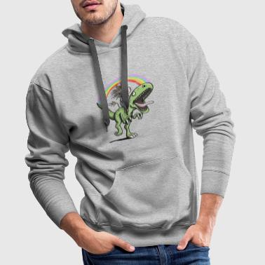 Unicorn Rides Dinosaur T Rex Under Rainbow - Men's Premium Hoodie