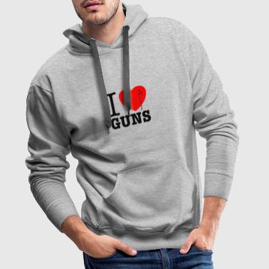 I love guns! Weapons satire. Bullet hole with blood - Men's Premium Hoodie