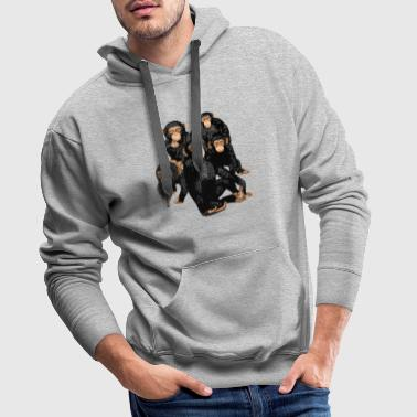 Five Cute Monkey's T-Shirt - Funny Little Ape - Men's Premium Hoodie
