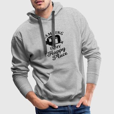 Camping is my happy place camper lover - Men's Premium Hoodie