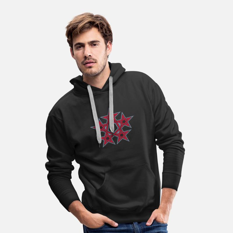 Golden Hoodies & Sweatshirts - Pentagram, 5 Stars, Pentagon, Golden Ratio - Men's Premium Hoodie black