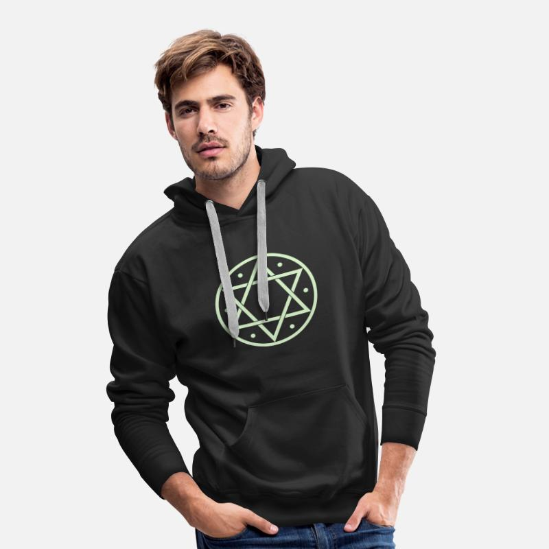 6 Protection Witchcraft Sudaderas - Hexagram, Magic, Merkaba, David Star, Yin Yang - Sudadera con capucha premium hombre negro