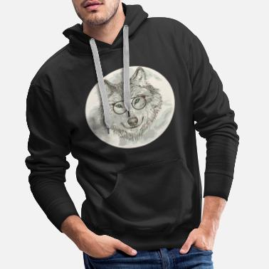 WOLF WITH GLASS MOON SHIRT GIFT FUNNY IDEA - Herre Premium hættetrøje