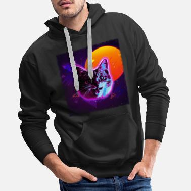 Glowing Cat Face Shirt Trippy Rave Disco Neon 80s Vintage - Men's Premium Hoodie