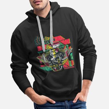 V8 in turbo we trust, engine block, V6, mechanic - Men's Premium Hoodie