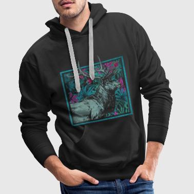 Deer Deer Elk Antlers Animal Forest Animal Colorful Gift - Men's Premium Hoodie