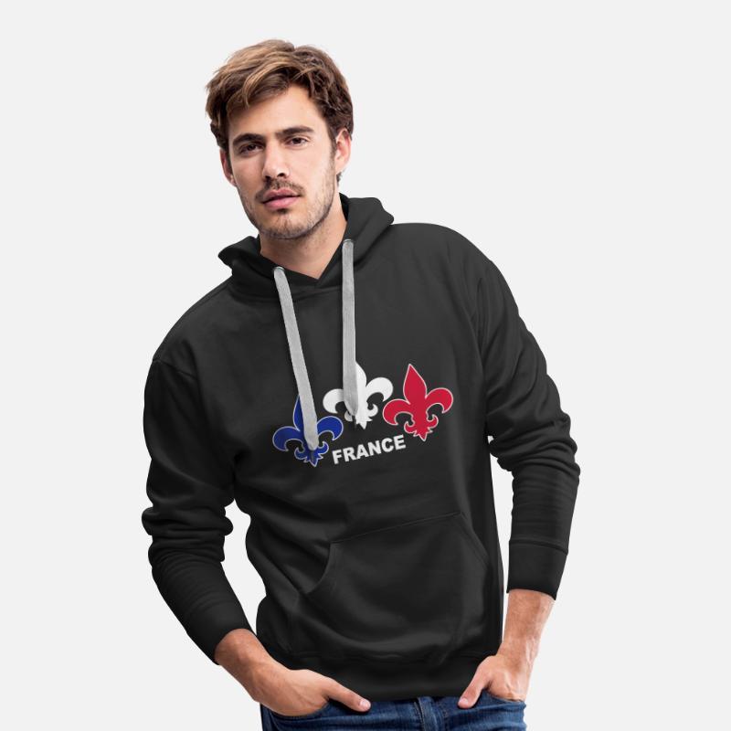 07e0d4674df9a Patriote Sweat-shirts - Fleurs de Lys - Sweat à capuche premium Homme noir