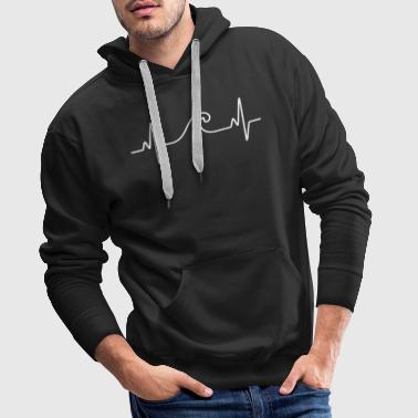 Surf  The Wave | Funny Heartbeat Design - Felpa con cappuccio premium da uomo