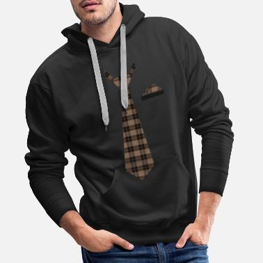 Tie Blanket in Checkered Brown Lumberjack - Men's Premium Hoodie
