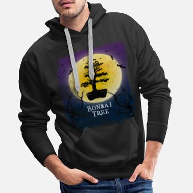 Bat Bonsai Tree Halloween Vintage Art Indoor Plant - Men's Premium Hoodie