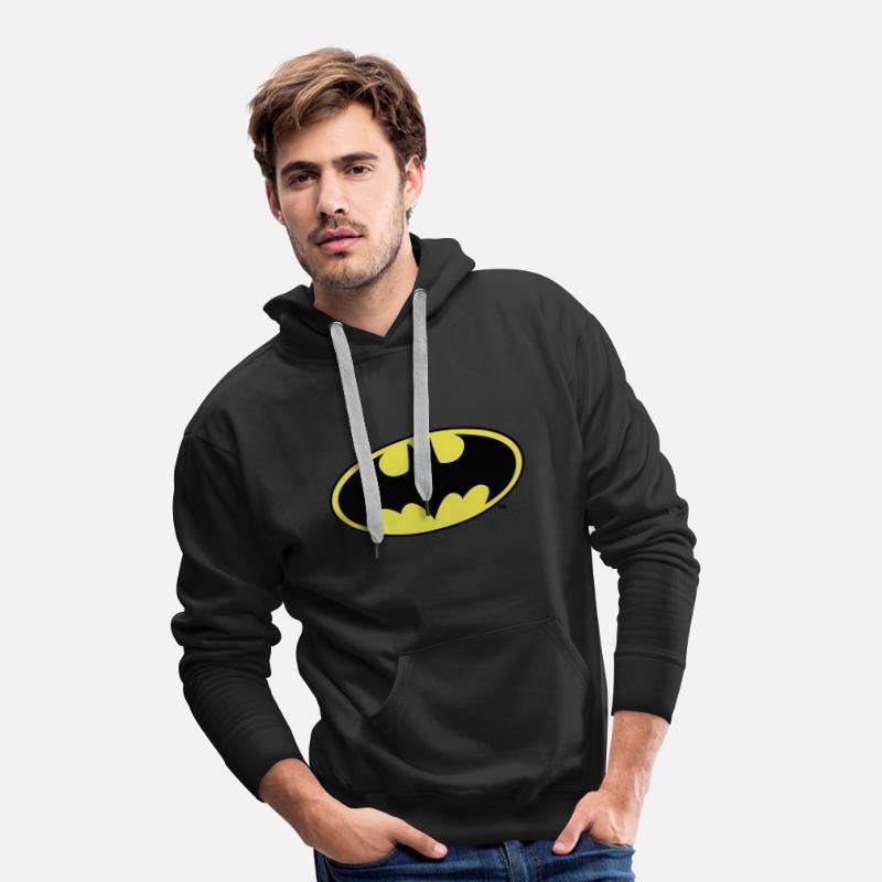 Logo Homme Capuche Spreadshirt À Sweat Batman Premium Jaune 48qw14Rr