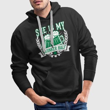 She is my drunker half - St. Patricks day - Bier - Sweat-shirt à capuche Premium pour hommes
