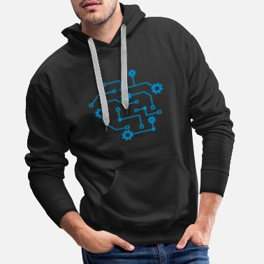 Electricity circuit mechanical microchip data electric - Men's Premium Hoodie