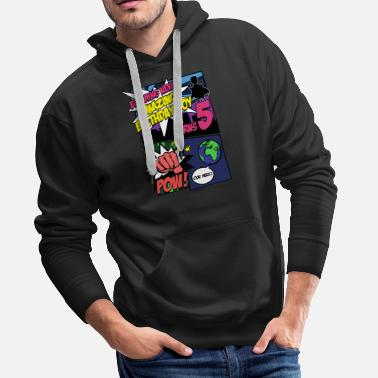 School Superhero Birthday Boy TShirt Turns 5 Amazing - Men's Premium Hoodie