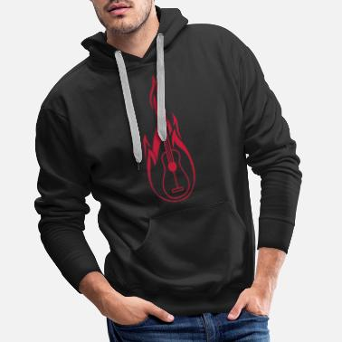 Firefighter logo burn guitar fire flames hot learn sp - Men's Premium Hoodie