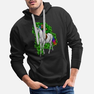 Ireland Leprechaun Rides Unicorn | Happy St. Patrick's Day - Men's Premium Hoodie