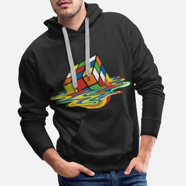 Nerd Rubik's Cube Melted Colourful Puddle - Mannen premium hoodie